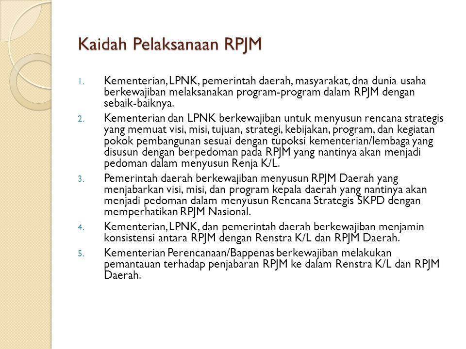 Kaidah Pelaksanaan RPJM 1. Kementerian, LPNK, pemerintah daerah, masyarakat, dna dunia usaha berkewajiban melaksanakan program-program dalam RPJM deng