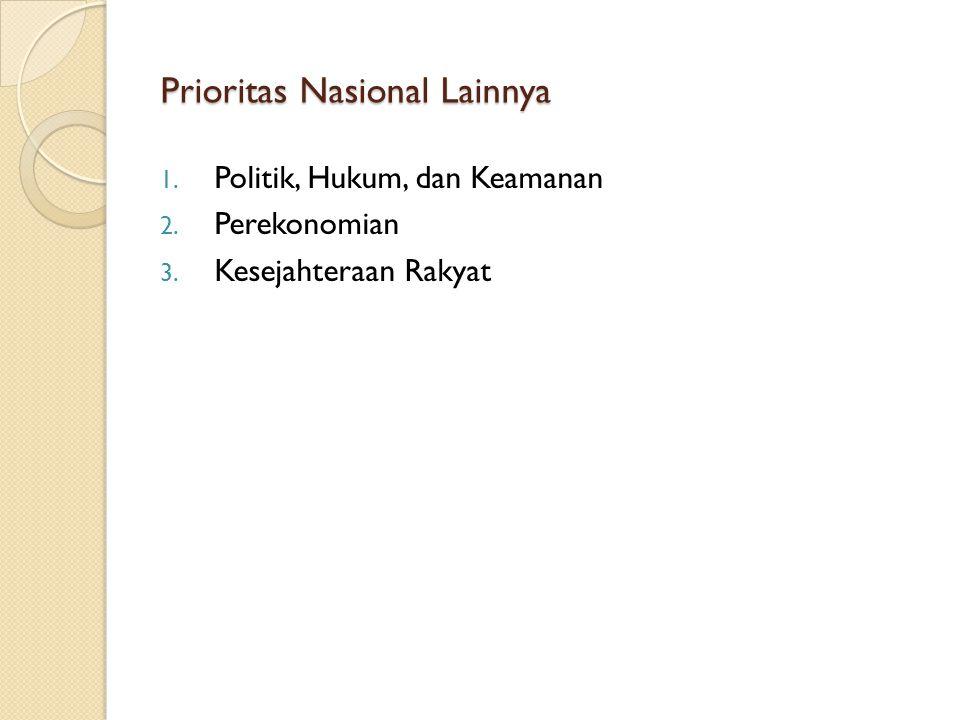 Prioritas Nasional Lainnya 1. Politik, Hukum, dan Keamanan 2. Perekonomian 3. Kesejahteraan Rakyat