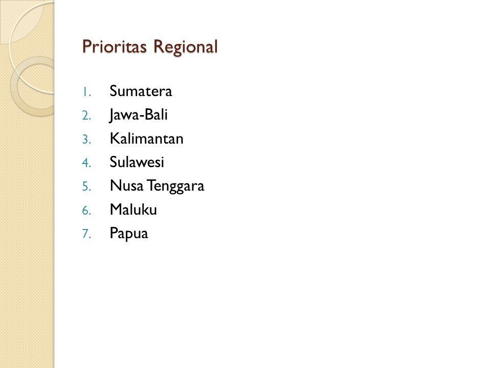 Prioritas Regional 1. Sumatera 2. Jawa-Bali 3. Kalimantan 4. Sulawesi 5. Nusa Tenggara 6. Maluku 7. Papua