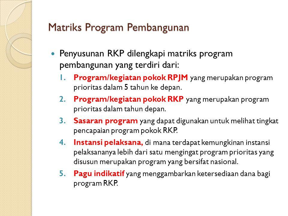 Matriks Program Pembangunan Penyusunan RKP dilengkapi matriks program pembangunan yang terdiri dari: 1.Program/kegiatan pokok RPJM yang merupakan prog