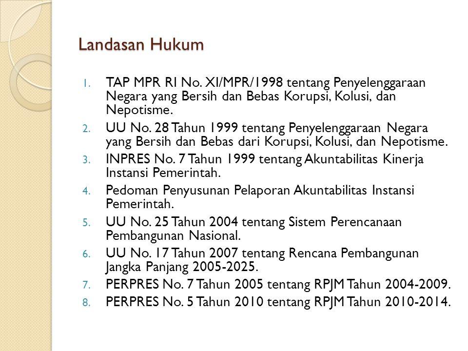 Landasan Hukum 1. TAP MPR RI No. XI/MPR/1998 tentang Penyelenggaraan Negara yang Bersih dan Bebas Korupsi, Kolusi, dan Nepotisme. 2. UU No. 28 Tahun 1