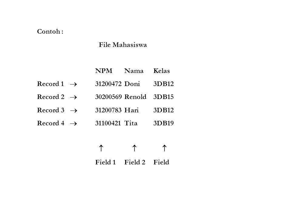 Contoh : File Mahasiswa NPMNamaKelas Record 1  31200472Doni3DB12 Record 2  30200569Renold3DB15 Record 3  31200783Hari3DB12 Record 4  31100421Tita3