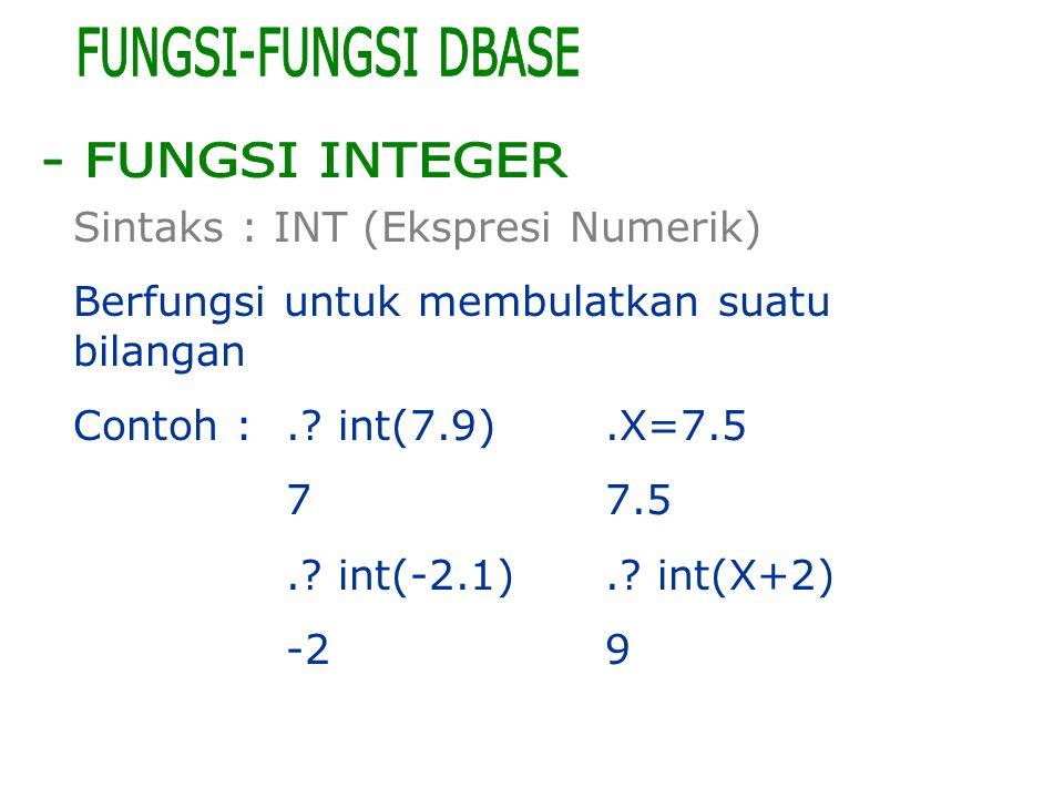 Sintaks : INT (Ekspresi Numerik) Berfungsi untuk membulatkan suatu bilangan Contoh :.? int(7.9).X=7.5 77.5.? int(-2.1).? int(X+2) -29