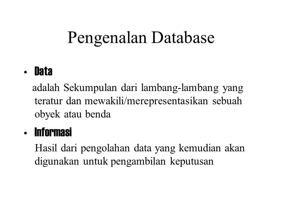 Pengenalan Database Data adalah Sekumpulan dari lambang-lambang yang teratur dan mewakili/merepresentasikan sebuah obyek atau benda Informasi Hasil da