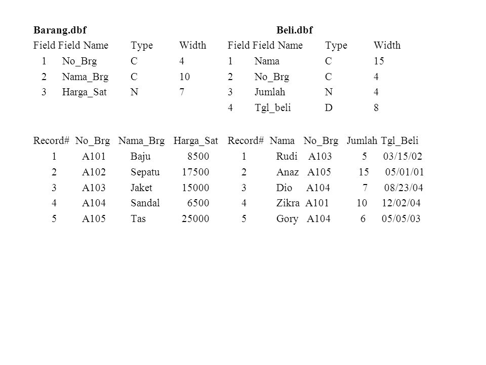 Barang.dbfBeli.dbf Field Field Name TypeWidthField Field Name TypeWidth 1 No_BrgC41 NamaC15 2 Nama_BrgC102 No_BrgC4 3 Harga_SatN73 JumlahN4 4 Tgl_beli
