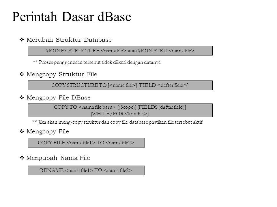 Perintah Dasar dBase  Merubah Struktur Database MODIFY STRUCTURE atau MODI STRU ** Proses penggandaan tersebut tidak diikuti dengan datanya  Mengcop
