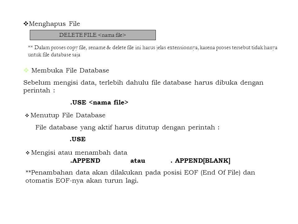  Menghapus File DELETE FILE ** Dalam proses copy file, rename & delete file ini harus jelas extensionnya, karena proses tersebut tidak hanya untuk fi