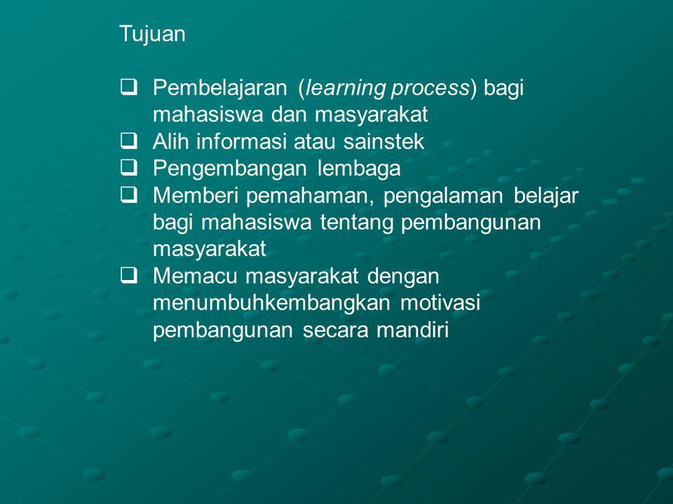Tujuan  Pembelajaran (learning process) bagi mahasiswa dan masyarakat  Alih informasi atau sainstek  Pengembangan lembaga  Memberi pemahaman, peng