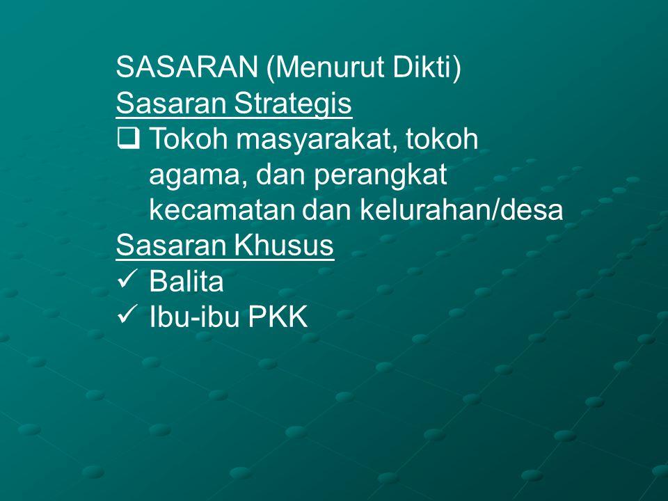 SASARAN (Menurut Dikti) Sasaran Strategis  Tokoh masyarakat, tokoh agama, dan perangkat kecamatan dan kelurahan/desa Sasaran Khusus Balita Ibu-ibu PK