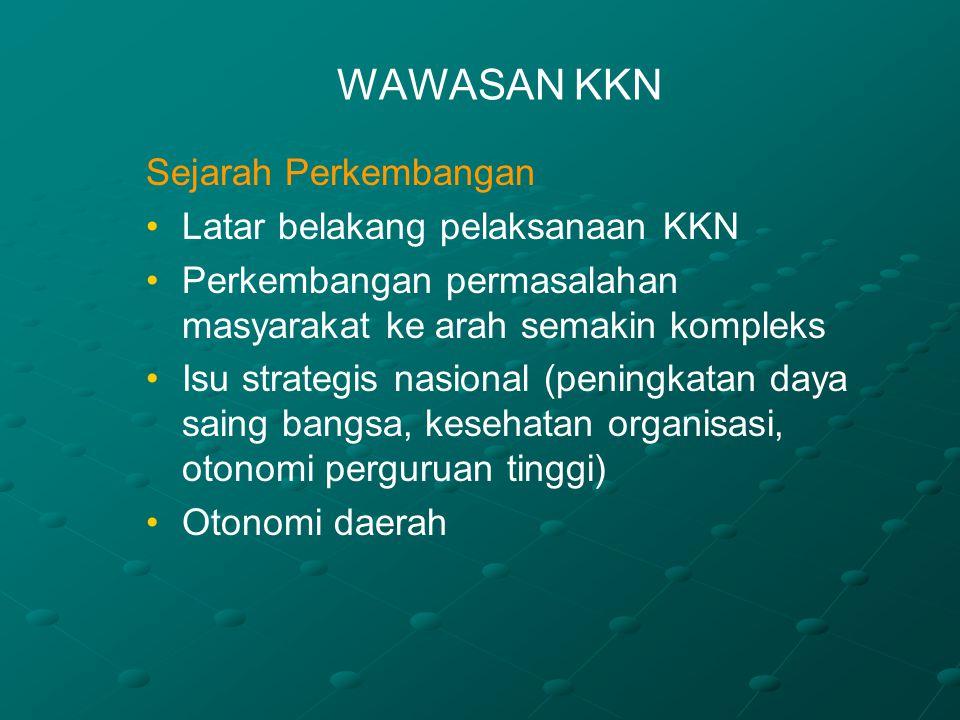 PRINSIP-PRINSIP KKN (Lanjutan 3) Lintas sektoralLintas sektoral Program yang dilaksanakan berprinsip pada keterpaduan dalam melaksanakan proses pembangunan di Indonesia di/oleh berbagai sektor yang ada, terkait dengan kompleksnya permasalahan serta upaya membangun manusia Indonesia seutuhnya selaras dengan ragam aspirasi dan budaya yang dianut) Program yang dilaksanakan berprinsip pada keterpaduan dalam melaksanakan proses pembangunan di Indonesia di/oleh berbagai sektor yang ada, terkait dengan kompleksnya permasalahan serta upaya membangun manusia Indonesia seutuhnya selaras dengan ragam aspirasi dan budaya yang dianut) Pelaksanaan amar makruf nahi munkarPelaksanaan amar makruf nahi munkar Pendinamisasian dan peningkatan (kuantitas maupun kualitas) dakwah jamaah dan gerakan jamaah.Pendinamisasian dan peningkatan (kuantitas maupun kualitas) dakwah jamaah dan gerakan jamaah.