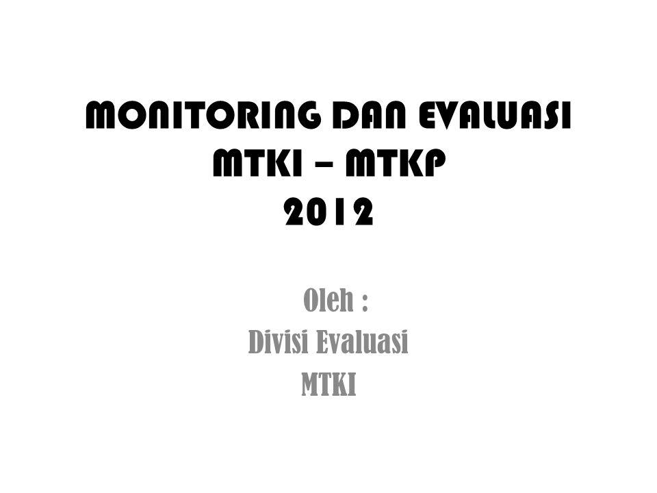 MONITORING DAN EVALUASI MTKI – MTKP 2012 Oleh : Divisi Evaluasi MTKI