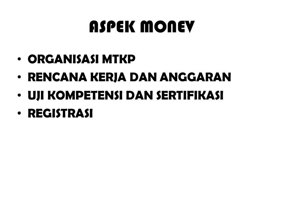 ASPEK MONEV ORGANISASI MTKP RENCANA KERJA DAN ANGGARAN UJI KOMPETENSI DAN SERTIFIKASI REGISTRASI