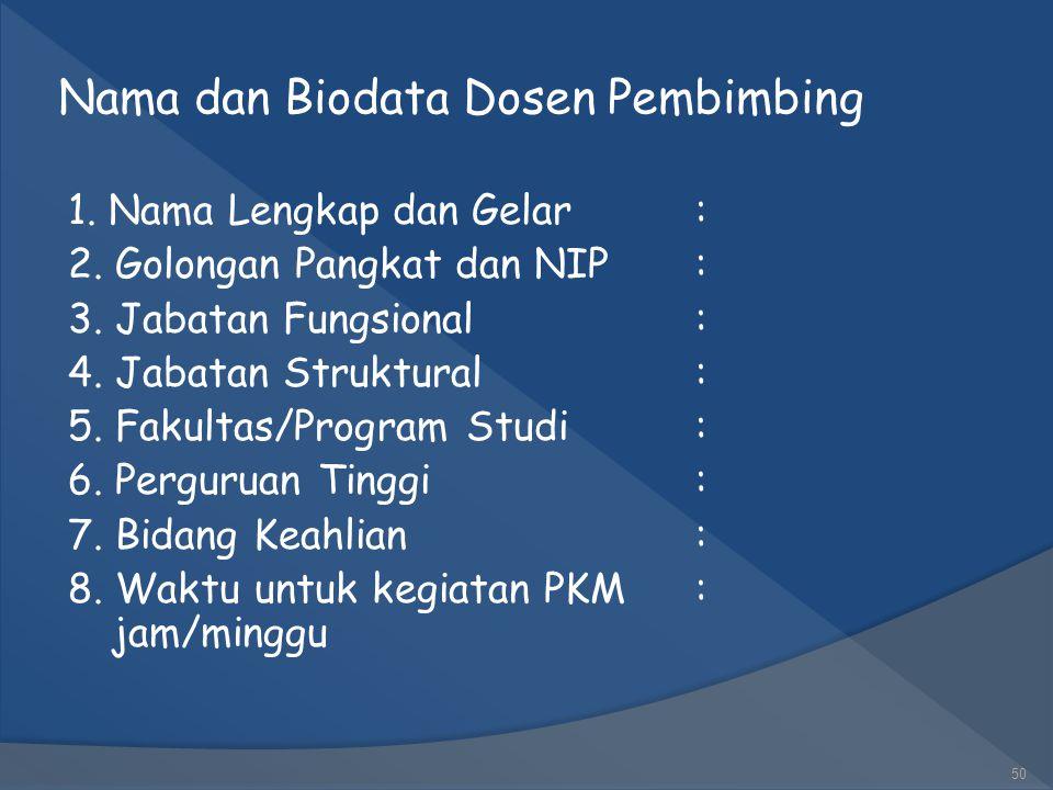 Nama dan Biodata Ketua dan Anggota Kelompok 1. Ketua Pelaksana Kegiatan a. Nama Lengkap: b. NIM: c. Fakultas/Program Studi: d. Perguruan Tinggi: e. Wa