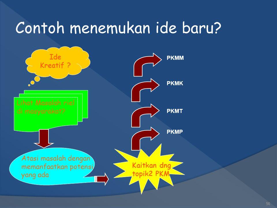 Tips Mencari Topik yang Kreatif Secara Cepat dan Tepat  Pilih masalah aktual, hangat, relevan dan mendesak untuk dipecahkan Sabtu, 16 Mei 201155 Kait
