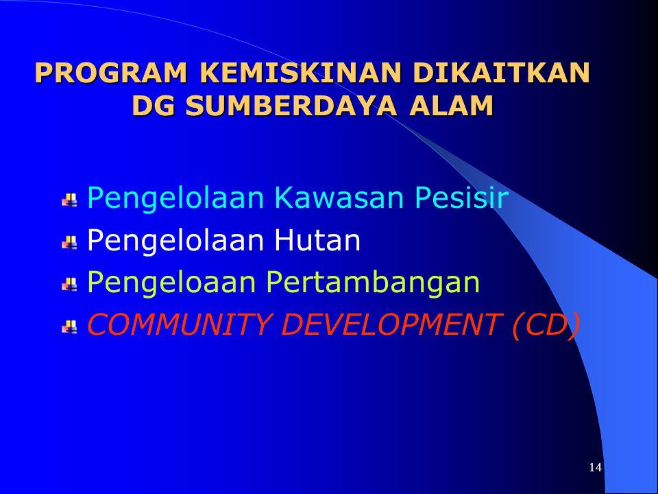 13 PROGRAM KEMISKINAN SELAMA INI Program Pemberdayaan Desa / Kelurahan yang didanai murni dari APBD Kabupaten Tuban sejak th 2001 dan menginjak ke th
