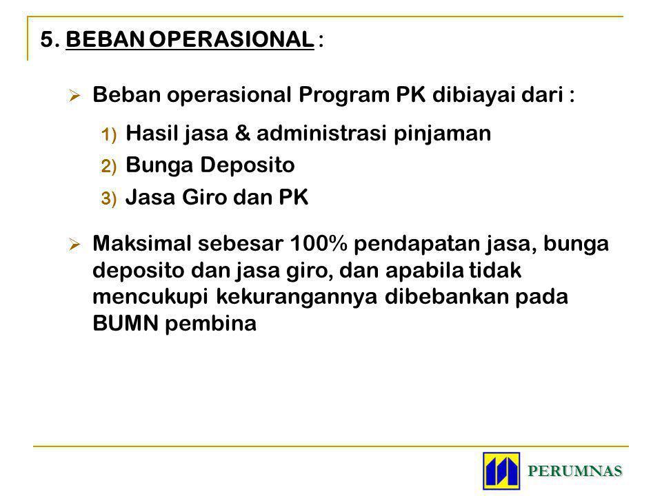 5. BEBAN OPERASIONAL :  Beban operasional Program PK dibiayai dari : 1) Hasil jasa & administrasi pinjaman 2) Bunga Deposito 3) Jasa Giro dan PK  Ma
