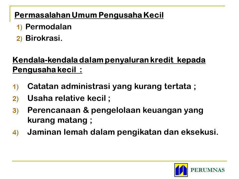 Permasalahan Umum Pengusaha Kecil 1) Permodalan 2) Birokrasi. Kendala-kendala dalam penyaluran kredit kepada Pengusaha kecil : 1) Catatan administrasi