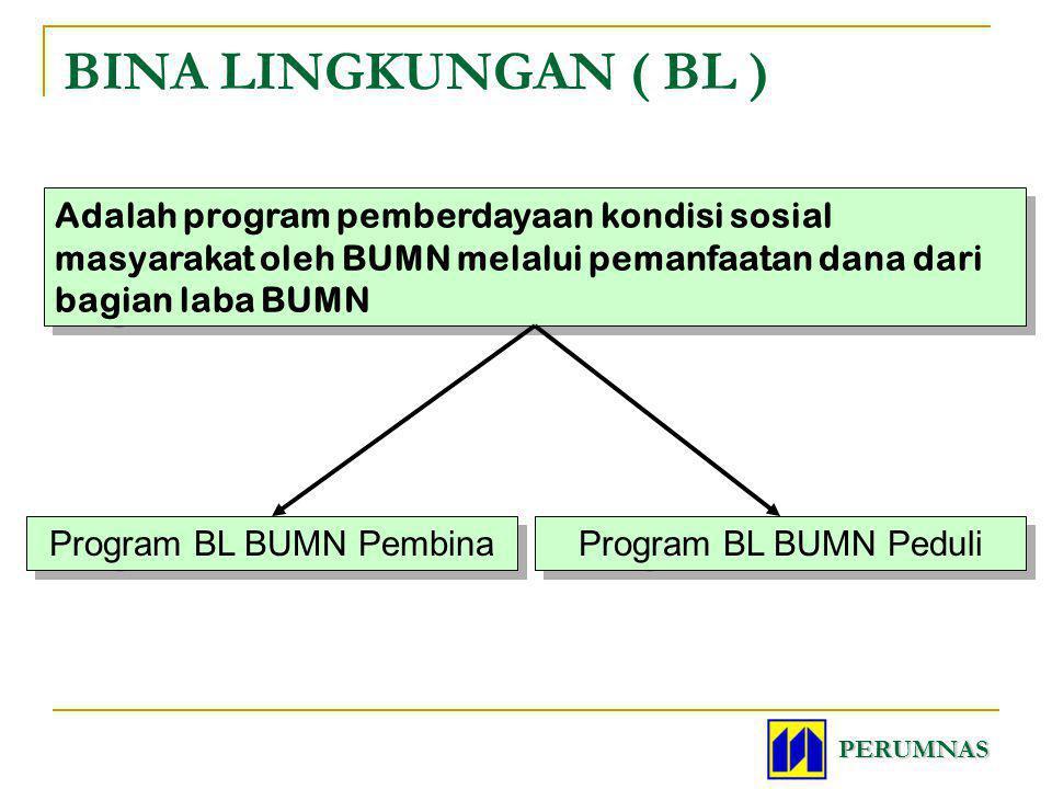 BINA LINGKUNGAN ( BL ) PERUMNAS Adalah program pemberdayaan kondisi sosial masyarakat oleh BUMN melalui pemanfaatan dana dari bagian laba BUMN Program