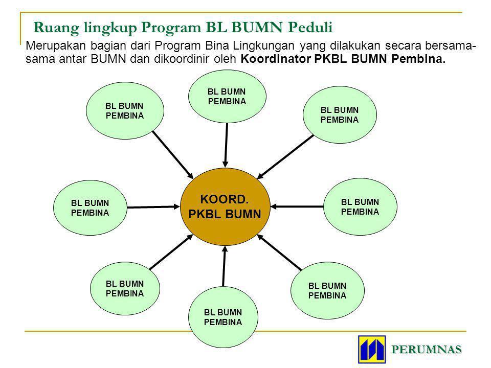 Ruang lingkup Program BL BUMN Peduli Merupakan bagian dari Program Bina Lingkungan yang dilakukan secara bersama- sama antar BUMN dan dikoordinir oleh