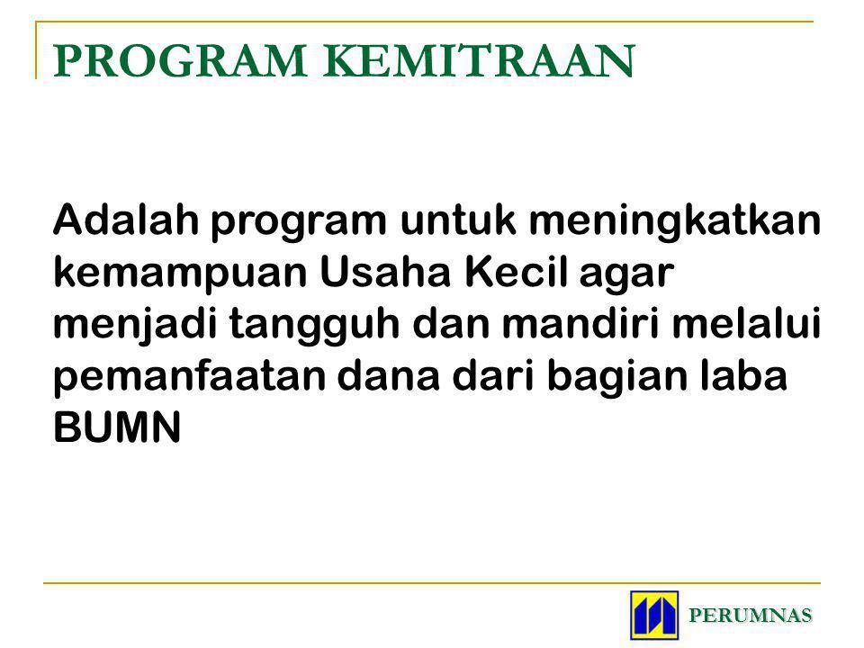 PROGRAM KEMITRAAN Adalah program untuk meningkatkan kemampuan Usaha Kecil agar menjadi tangguh dan mandiri melalui pemanfaatan dana dari bagian laba B
