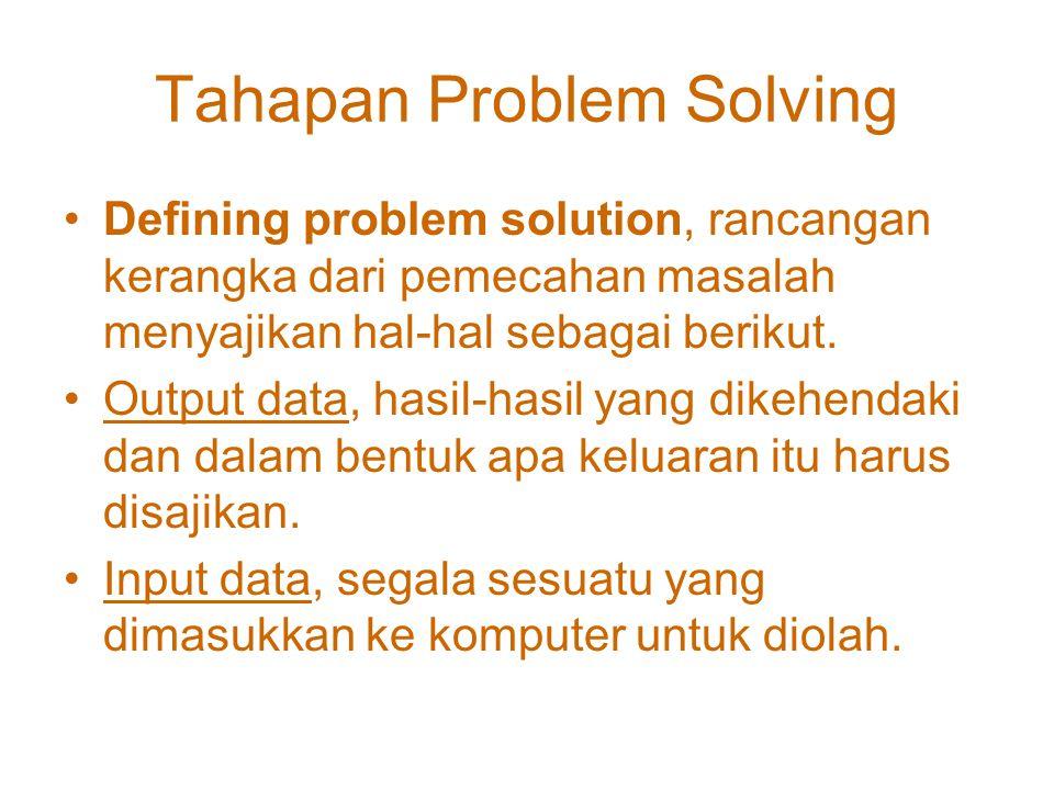 Tahapan Problem Solving Problem analysis, kita harus tahu secara detail problematika dengan memperhatikan ketentuan dan syarat yang diminta, harus dia