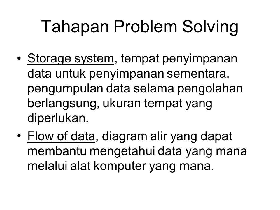 Tahapan Problem Solving Defining problem solution, rancangan kerangka dari pemecahan masalah menyajikan hal-hal sebagai berikut. Output data, hasil-ha