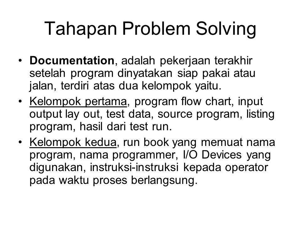 Tahap Problem Solving Run program, object program yang telah dihasilkan dicoba untuk mendapatkan hasil /output yang sesuai dengan harapan. Setelah itu