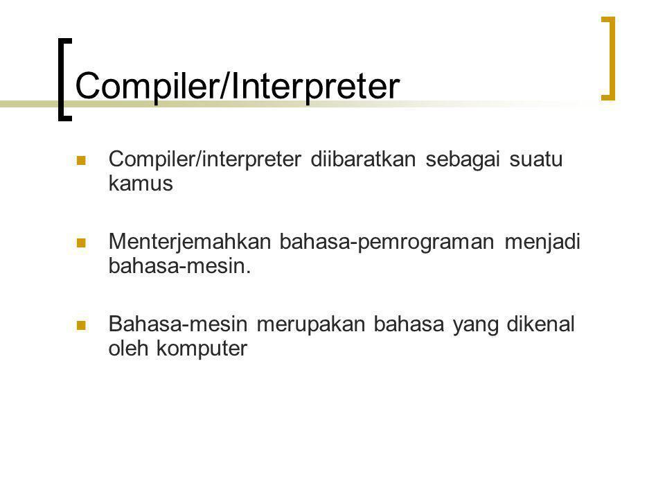 Compiler/Interpreter Compiler/interpreter diibaratkan sebagai suatu kamus Menterjemahkan bahasa-pemrograman menjadi bahasa-mesin. Bahasa-mesin merupak