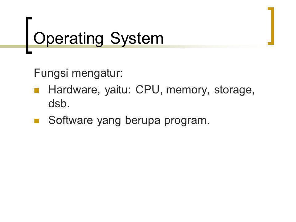 Operating System Fungsi mengatur: Hardware, yaitu: CPU, memory, storage, dsb. Software yang berupa program.