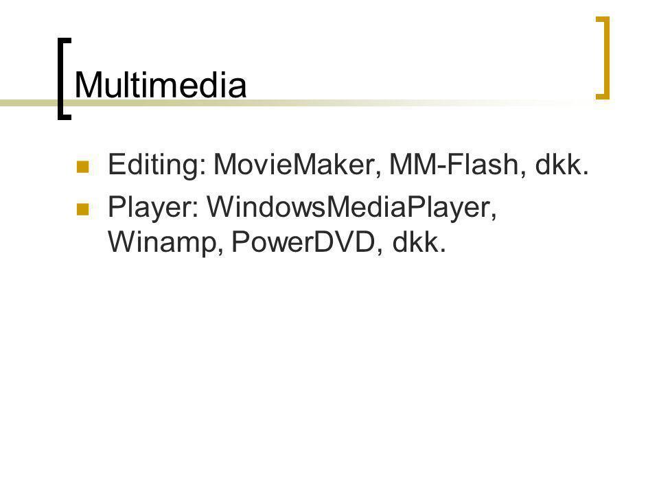 Multimedia Editing: MovieMaker, MM-Flash, dkk. Player: WindowsMediaPlayer, Winamp, PowerDVD, dkk.