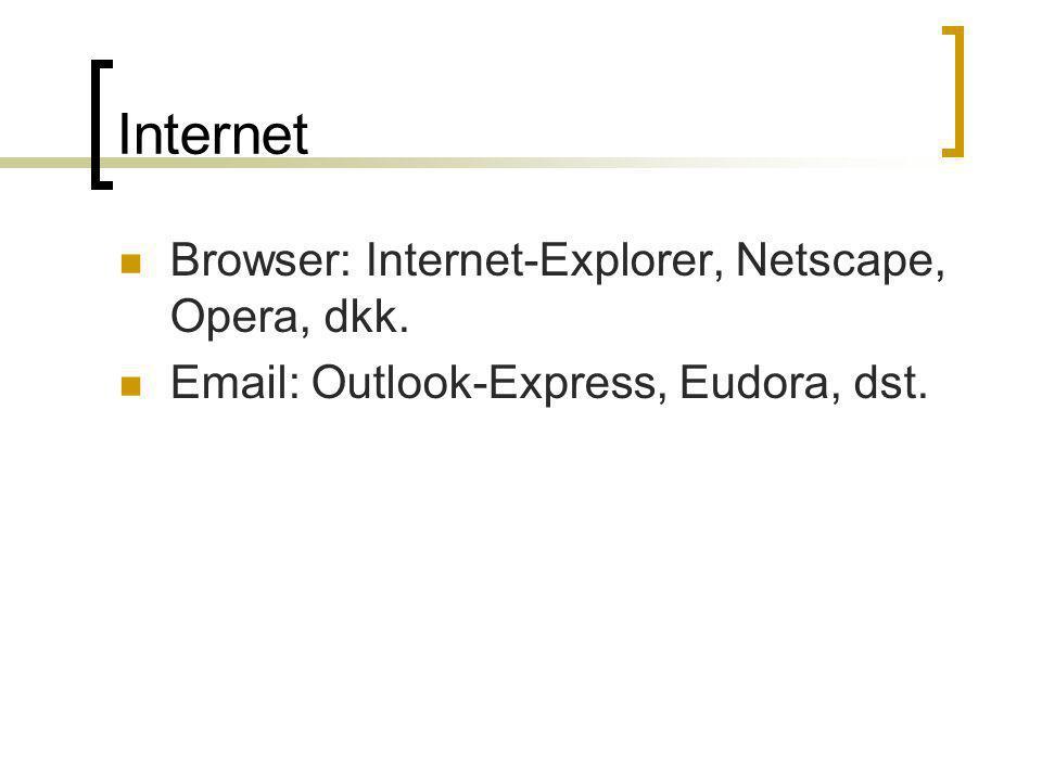 Internet Browser: Internet-Explorer, Netscape, Opera, dkk. Email: Outlook-Express, Eudora, dst.
