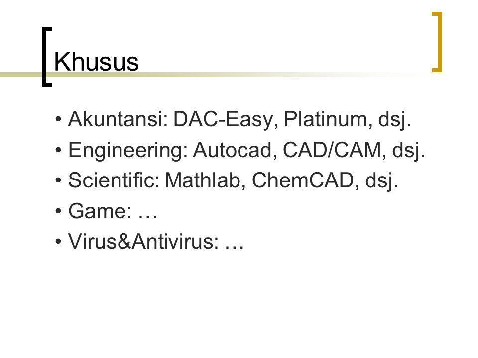 Khusus Akuntansi: DAC-Easy, Platinum, dsj. Engineering: Autocad, CAD/CAM, dsj. Scientific: Mathlab, ChemCAD, dsj. Game: … Virus&Antivirus: …