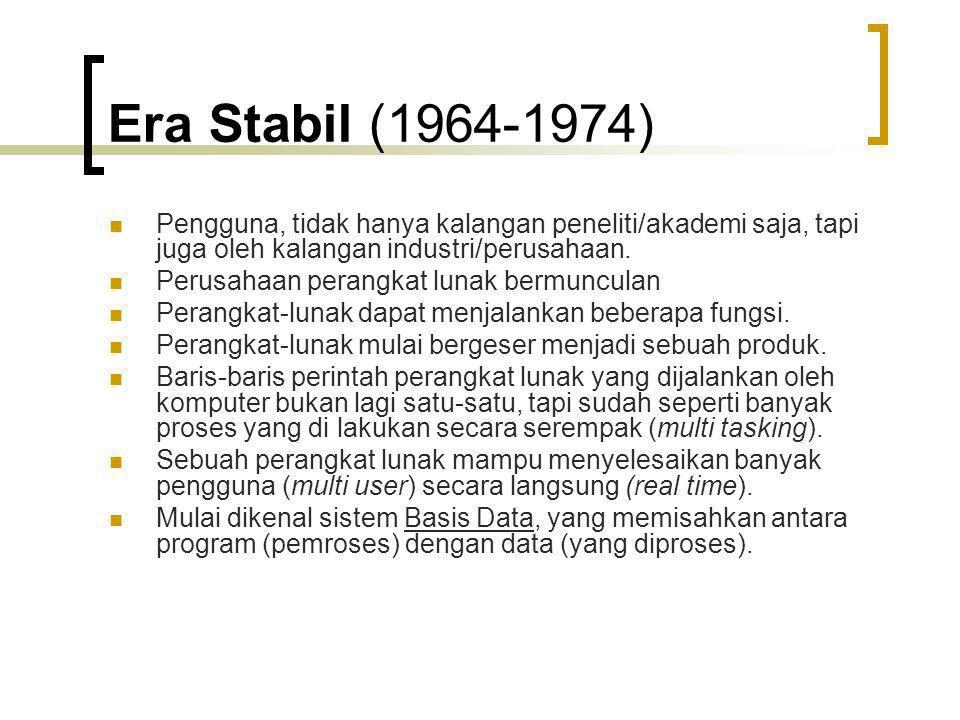 Era Stabil (1964-1974) Pengguna, tidak hanya kalangan peneliti/akademi saja, tapi juga oleh kalangan industri/perusahaan. Perusahaan perangkat lunak b
