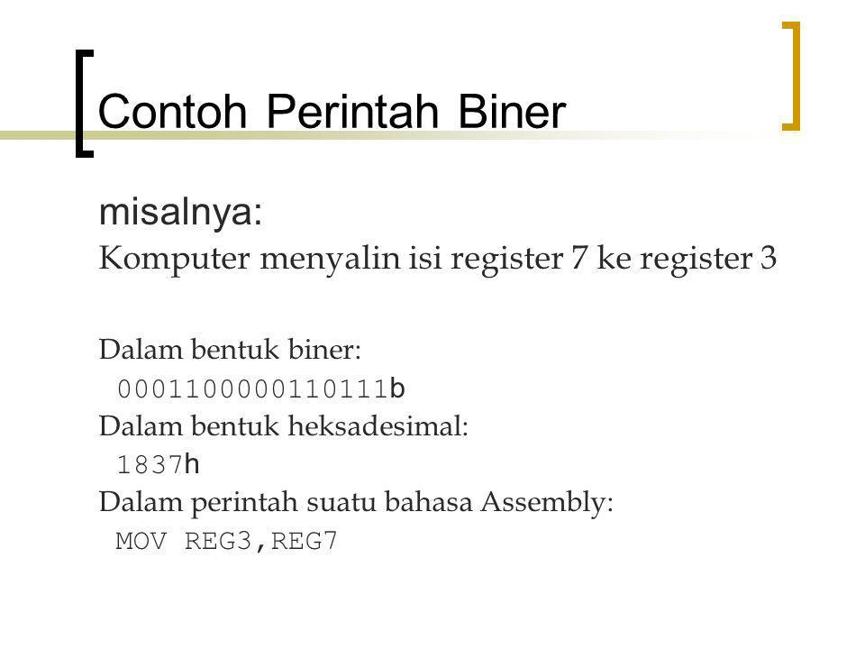 Contoh Perintah Biner misalnya: Komputer menyalin isi register 7 ke register 3 Dalam bentuk biner: 0001100000110111 b Dalam bentuk heksadesimal: 1837