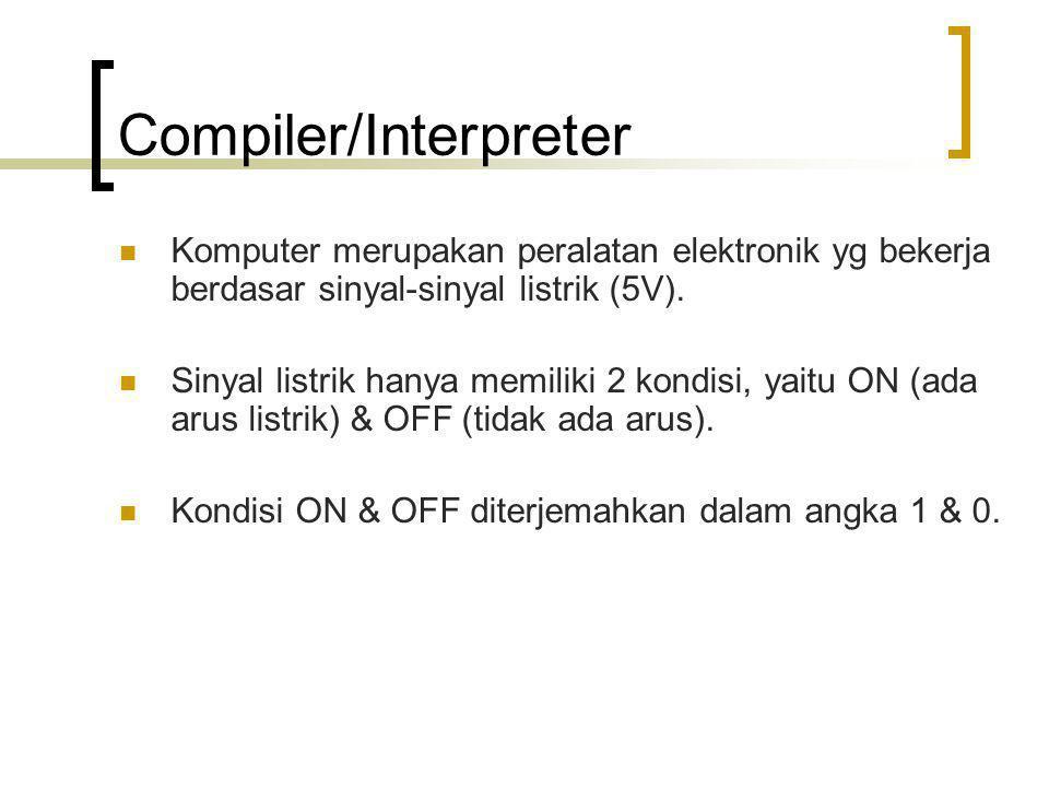 Compiler/Interpreter Komputer merupakan peralatan elektronik yg bekerja berdasar sinyal-sinyal listrik (5V). Sinyal listrik hanya memiliki 2 kondisi,