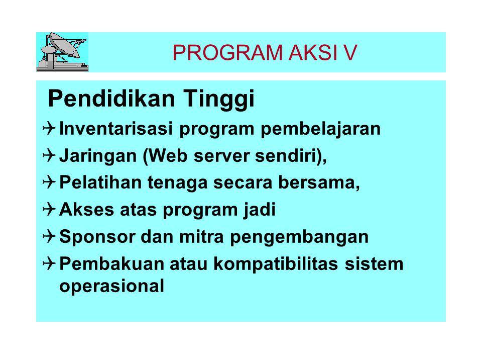 PROGRAM AKSI VI Pendidikan Kedinasan dan Profesional Sosialisasi pemanfaatan TTI  Jaringan (Web server sendiri)  Pelatihan tenaga secara bersama  Akses program pelatihan  Sponsor dan mitra pengembangan  Pembakuan atau kompatibilitas sistem operasional