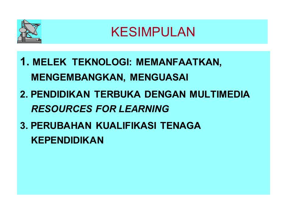 KESIMPULAN 1. MELEK TEKNOLOGI: MEMANFAATKAN, MENGEMBANGKAN, MENGUASAI 2. PENDIDIKAN TERBUKA DENGAN MULTIMEDIA RESOURCES FOR LEARNING 3. PERUBAHAN KUAL