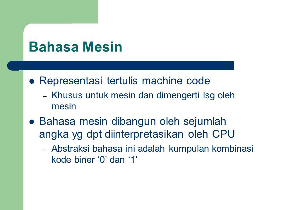 Bahasa Mesin Representasi tertulis machine code – Khusus untuk mesin dan dimengerti lsg oleh mesin Bahasa mesin dibangun oleh sejumlah angka yg dpt di