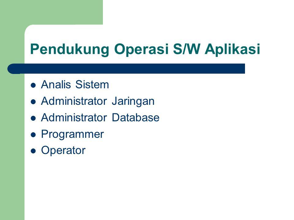 Pendukung Operasi S/W Aplikasi Analis Sistem Administrator Jaringan Administrator Database Programmer Operator