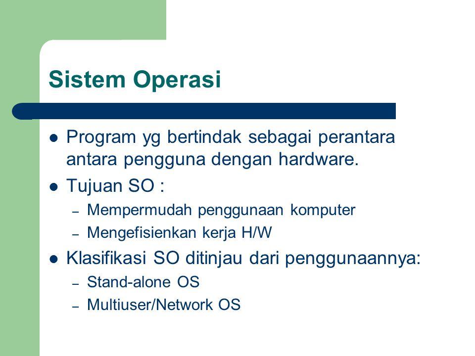 Sistem Operasi Program yg bertindak sebagai perantara antara pengguna dengan hardware. Tujuan SO : – Mempermudah penggunaan komputer – Mengefisienkan