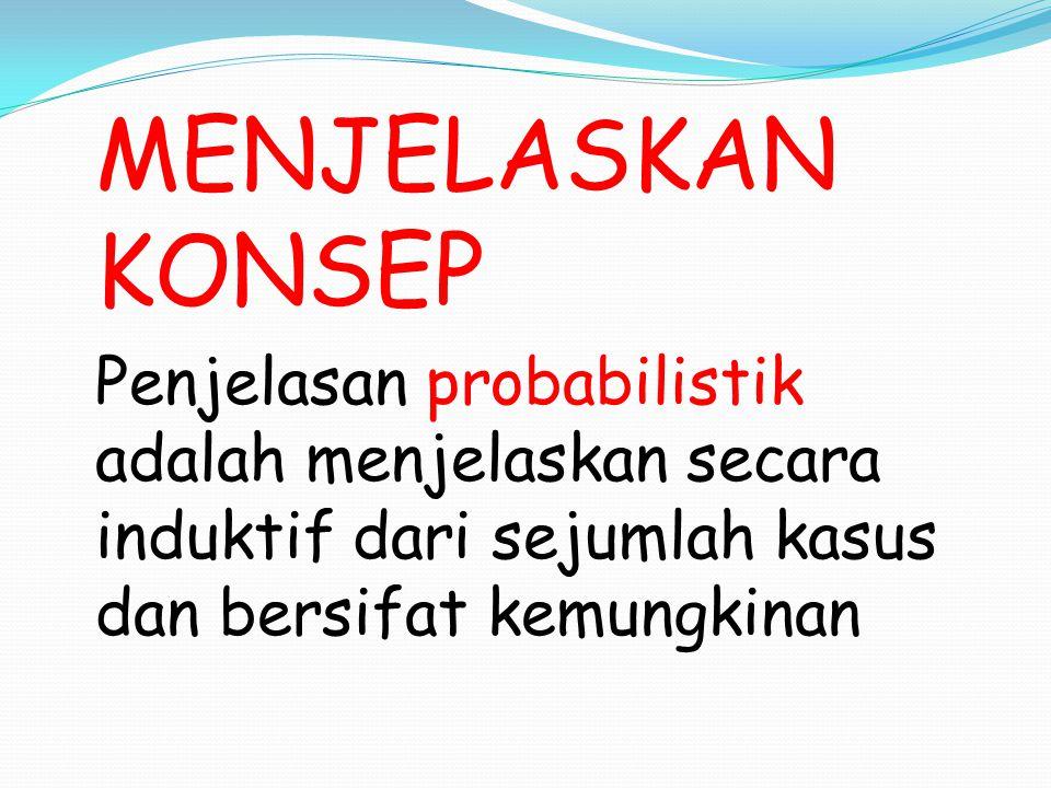 MENJELASKAN KONSEP Penjelasan probabilistik adalah menjelaskan secara induktif dari sejumlah kasus dan bersifat kemungkinan
