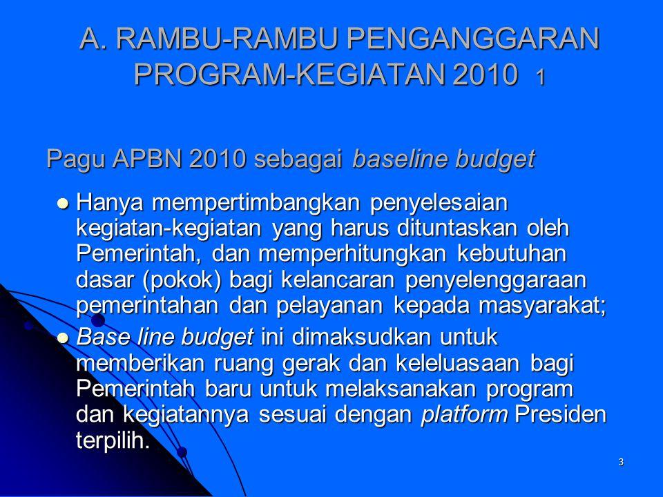 3 A. RAMBU-RAMBU PENGANGGARAN PROGRAM-KEGIATAN 2010 1 Hanya mempertimbangkan penyelesaian kegiatan-kegiatan yang harus dituntaskan oleh Pemerintah, da