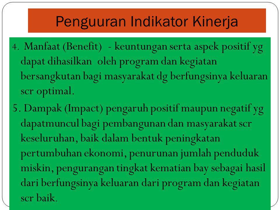 Penguuran Indikator Kinerja 4. Manfaat (Benefit) - keuntungan serta aspek positif yg dapat dihasilkan oleh program dan kegiatan bersangkutan bagi masy