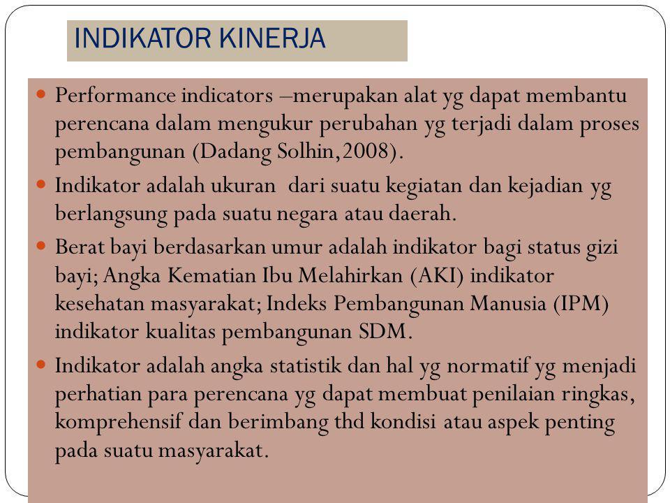 INDIKATOR KINERJA Performance indicators –merupakan alat yg dapat membantu perencana dalam mengukur perubahan yg terjadi dalam proses pembangunan (Dadang Solhin,2008).