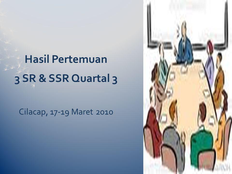 Hasil Pertemuan 3 SR & SSR Quartal 3 Cilacap, 17-19 Maret 2010