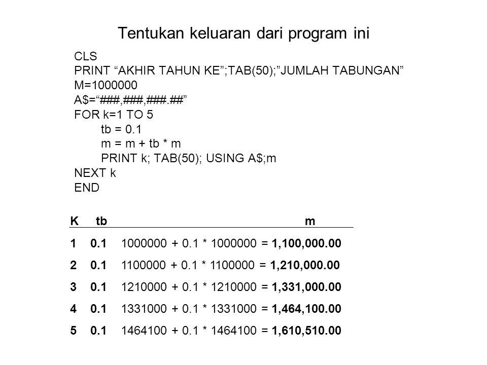 Tentukan keluaran dari program ini CLS PRINT AKHIR TAHUN KE ;TAB(50); JUMLAH TABUNGAN M=1000000 A$= ###,###,###.## FOR k=1 TO 5 tb = 0.1 m = m + tb * m PRINT k; TAB(50); USING A$;m NEXT k END K tb m 1 0.1 1000000 + 0.1 * 1000000 = 1,100,000.00 2 0.1 1100000 + 0.1 * 1100000 = 1,210,000.00 3 0.1 1210000 + 0.1 * 1210000 = 1,331,000.00 4 0.1 1331000 + 0.1 * 1331000 = 1,464,100.00 5 0.1 1464100 + 0.1 * 1464100 = 1,610,510.00