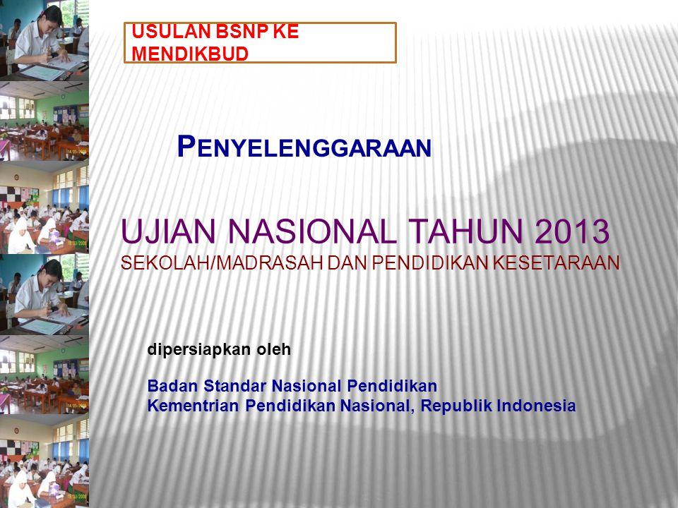 P ENYELENGGARAAN UJIAN NASIONAL TAHUN 2013 SEKOLAH/MADRASAH DAN PENDIDIKAN KESETARAAN dipersiapkan oleh Badan Standar Nasional Pendidikan Kementrian P