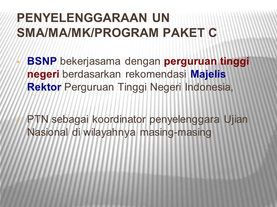 PENYELENGGARAAN UN SMA/MA/MK/PROGRAM PAKET C BSNP bekerjasama dengan perguruan tinggi negeri berdasarkan rekomendasi Majelis Rektor Perguruan Tinggi N