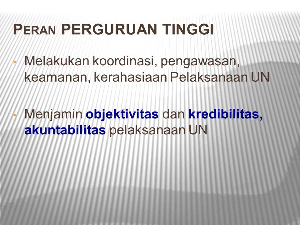 P ERAN PERGURUAN TINGGI Melakukan koordinasi, pengawasan, keamanan, kerahasiaan Pelaksanaan UN Menjamin objektivitas dan kredibilitas, akuntabilitas pelaksanaan UN
