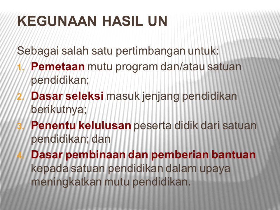 KEGUNAAN HASIL UN Sebagai salah satu pertimbangan untuk: 1. Pemetaan mutu program dan/atau satuan pendidikan; 2. Dasar seleksi masuk jenjang pendidika
